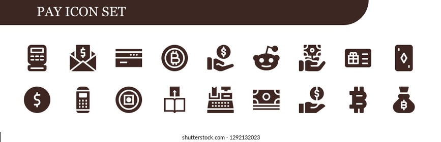 pay icon set. 18 filled pay icons. Simple modern icons about  - Cash register, Money, Card, Bitcoin, Payment, Reddit, Gift card, Coin, Payment terminal, Transfer