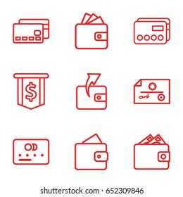 Pay icons set. set of 9 pay outline icons such as wallet, credit card, wallet, check