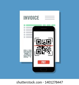 pay invoice by qr code with mobile phone, online payment with smartphone