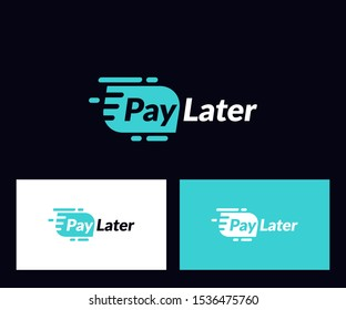 pay later  logo. Isolated on black background. Vector Illustration. Abstract letter vector for web icon, Simple logo and element design. Initial icons for company, logo brand business.