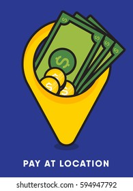 Pay at the location concept. Dollar currency in location pin. Logo design idea for payment process