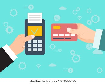 Pay merchant hand credit card vector illustration. Credit card online payment. Payment with edc mashine and credit card. Electronic funds transfer at point of sale via terminal.