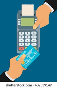 pay merchant hands credit card flat vector illustration