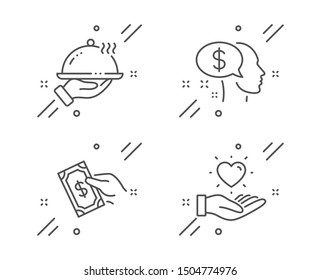 Pay, Pay money and Restaurant food line icons set. Hold heart sign. Beggar, Hold cash, Room service. Love brand. People set. Line pay outline icon. Vector