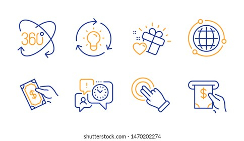 Pay money, Touchscreen gesture and Globe line icons set. Full rotation, Love gift and Time management signs. Idea, Atm service symbols. Hold cash, Click hand. Business set. Line pay money icon. Vector