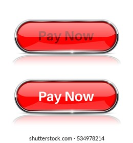 Pay now button. Shiny red oval web icons, normal and active. Vector 3d illustration isolated on white background.