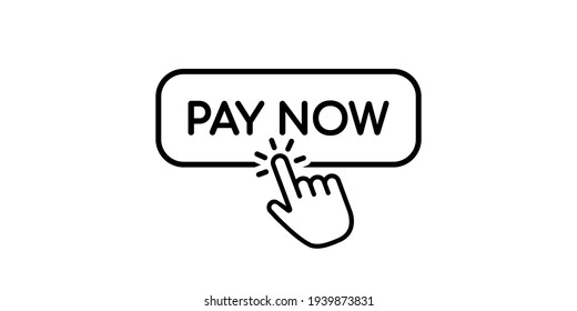 Pay now icon in flat style and hand cursor