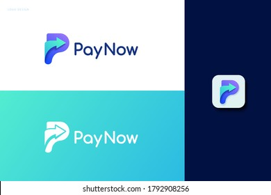 Pay now logo set with single arrow design, concept of e-commerce, fast online payment and crypto wallet