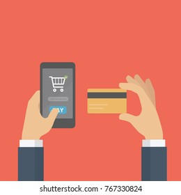Pay online shop with credit card. Online shop transaction. Mobile Payment concept