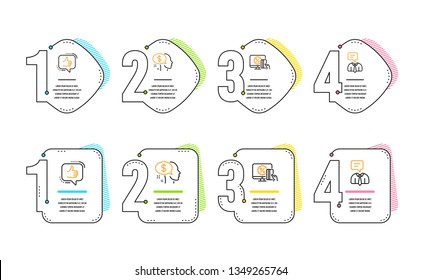 Pay, Online shopping and Like icons simple set. Support service sign. Beggar, Black friday, Thumbs up. Human talking. People set. Infographic timeline. Line pay icon. 4 options or steps. Vector