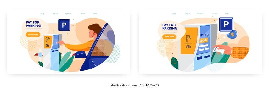 Pay for parking, landing page design, website banner vector template set. Self service technologies.
