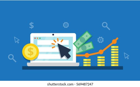 Pay Per Click concept - flat vector illustration. Graph, laptop, arrow and profit. PPC advertising and conversion.