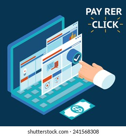 Pay per click, infographics illustration. Touch your finger to the screen of a laptop