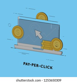 Pay per click, internet marketing. Flat line art style concept. Vector banner, icon, illustration
