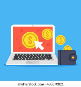 Pay per click, make money online concepts. Laptop, mouse cursor, gold coins and wallet. Modern flat design graphic elements isolated on blue background. Creative vector illustration