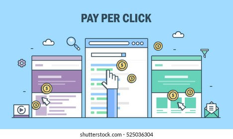Pay per click marketing concept, search marketing, pay per click management vector illustration with pointer and icons