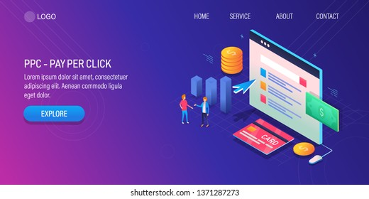 Pay per click, PPC advertising, 3D, Isometric vector concept with icons and texts