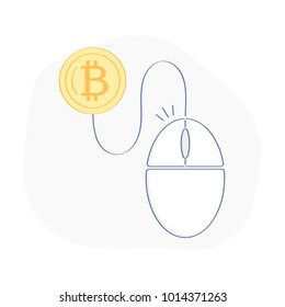 Pay per click, ppc illustration or cost per click, CPC, freelance, pay per work in web, internet surf device icon concept. Mouse pad connected with bitcoin symbol. E-commerce flat outline sign vector.