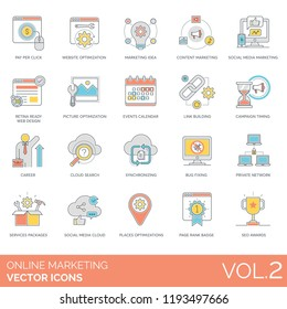 Pay per click, social media, retina ready, picture optimization, events calendar, link building, campaign timing, career, cloud search, bug fixing, network, seo awards online marketing vector icons.