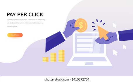 Pay Per Click vector concept. Advertiser pays a publisher - PPC. Creative business illustration in flat style for your design.