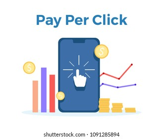 Pay Per Click vector flat illustration. Concept for mobile bank and internet payment, tax process. Flat banner, eps 10 tax process
