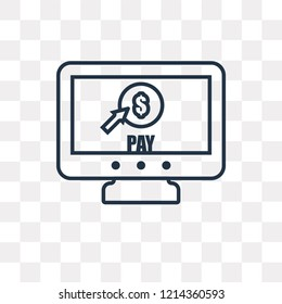 Pay per click vector outline icon isolated on transparent background, high quality linear Pay per click transparency concept can be used web and mobile