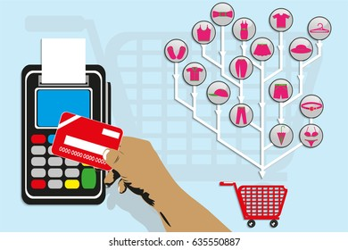 Pay for purchases of clothes using a plastic card. Vector illustration.
