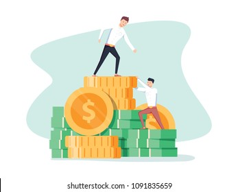 Pay rise business vector concept. Career ladder climbing, salary increase symbol with businessman climbing. Eps10 vector illustration. Businessman increases the salary. Up to goal destination