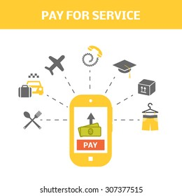 Pay for service concept. Internet shopping picture. Vector illustration of smart phone and types of payments.