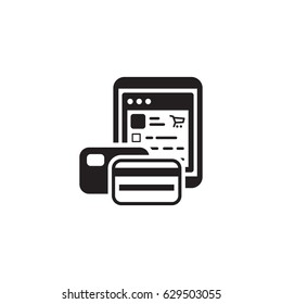 Pay As You Go Icon. Business and Finance. Isolated Illustration. Tablet with two credit cards. Tablet with store webpage.