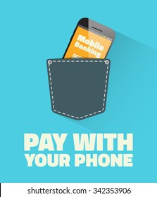 Pay with your phone - vector template