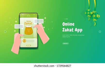 Pay Zakat or give alms in Islamic culture through the online Zakat application