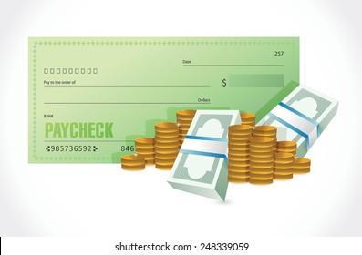 Lohnscheck- und Geldgrafik-Design auf weißem Hintergrund