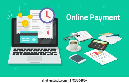 Paying bills online via credit bank card on laptop computer, electronic shopping innovation concept on pc digital internet payment invoice on pc notebook vector flat transaction with financial receipt