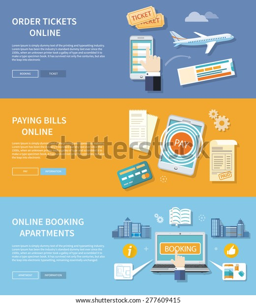 Paying Bills Payments Online Credit Buttons Stock Vector