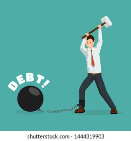 Paying debt metaphor vector banner template. Cartoon man breaking financial chains with sledge hammer. Happy debtor, businessman paying off debts, taxes, bank loans flat character