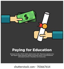 Paying Money for Higher Education Degree with Dollars in Cash And Text Box Template