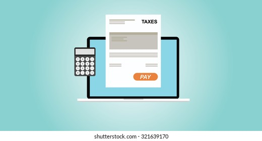 paying taxes with online process illustration