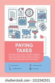 Paying taxes poster template layout. Finance analyzing. Taxation accounting. Banner, booklet, leaflet print design with linear icons. Vector brochure page layouts for magazines, advertising flyers