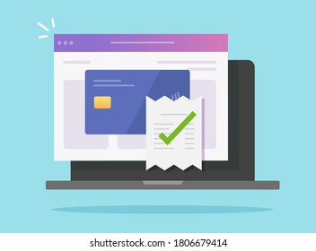 Payment bill confirmed approved via bank credit card on laptop computer vector, success electronic digital money pay invoice transaction, receipt completed concept, idea of valid verified checkout