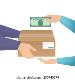 Payment by cash for express delivery. Flat illustration how people deliver package and pay for the delivery by cash. Human hand holds money and pay for the package. Courier get payment for it
