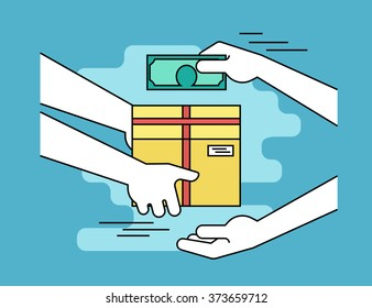 save off 1ea2b 1d50b Payment by cash for express delivery. Flat line contour illustration of  human hand holds a