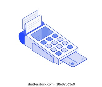 Payment by credit card using POS terminal, Cashbox card reader isometric illustration 3d vector icon. Modern creative design illustration in flat line style.