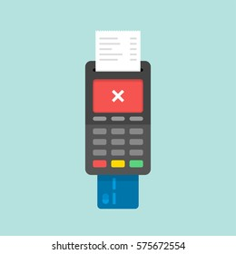 Payment by credit card using POS terminal, rejected payment. Flat illustration.