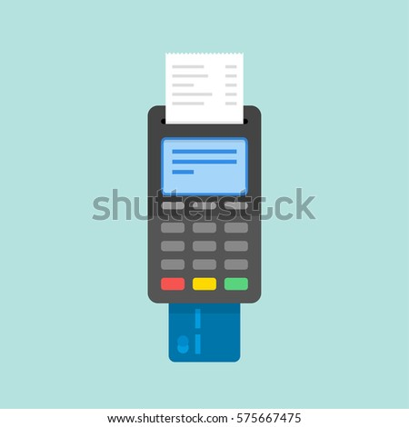 Payment by credit card using POS terminal. Flat illustration.