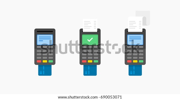 Payment by credit card using POS terminal, approved payment. Flat illustration.