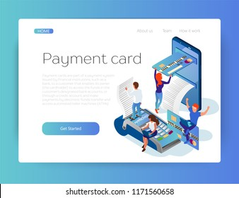 Payment by credit or debit card. Purchase on the Internet. Payment from the smartphone. Easy payment. Isometric 3d