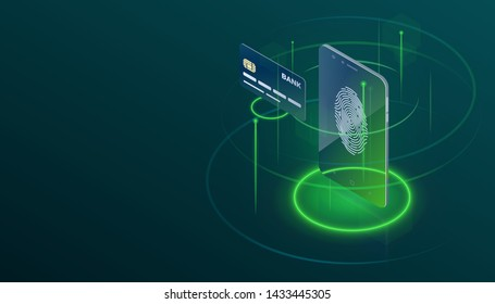Payment by Digital Wallet in Phone and Bank Card Isometric Concept. Dark Background for Ecommerce, Payment Technology, Finger Print Recognition, Security etc Banner, Brochure, Flyer or Site.