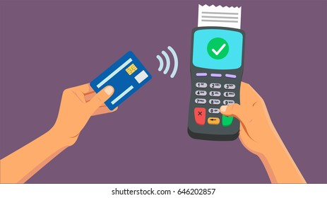 Payment by NFC with from credit card. Communication technology concept. Isolated