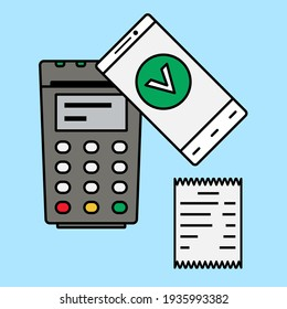 Payment by phone. Bank terminal. Vector illustration in flat style.